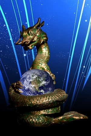 Dragon rolled the world with graphic line background photo