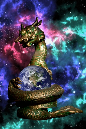 Dragon rolled the earth in the space with colorfull orion background photo
