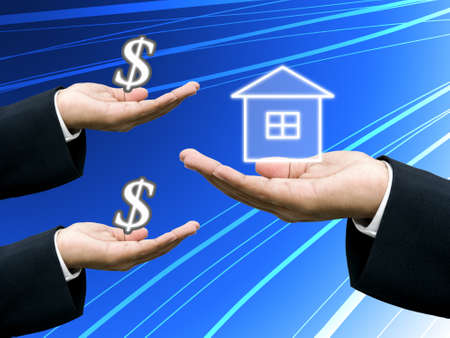 businees: People buy the house with builders, Building business concept