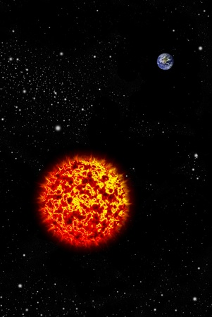 conflagration: Real earth planet in space with Big sun, Astronomy concept