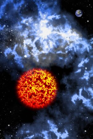 Big sun with orion in the space, Astronomy concept photo