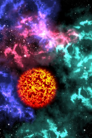 Sun with colorful orion in the space, Astronomy concept