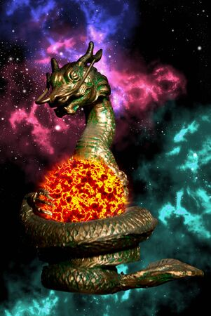 colourful fire: Dragon statue rolled the sun with orion in space area