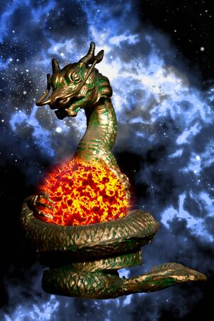 Dragon sculpture rolled the sun in space area photo