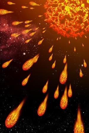 Sun explode the comet, Explode concept Standard-Bild