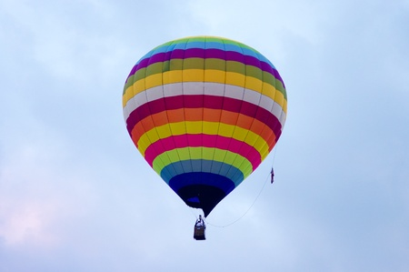 Hot air balloon with flyer in the sky, Chiang Mai, Thailand photo