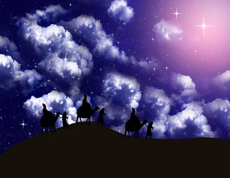 Astrologer follow the Bright star in night sky to Bethlehem