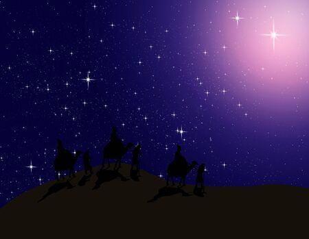 astrologer: Astrologer follow the Bright star in night sky to Bethlehem