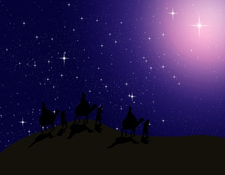 Astrologer follow the Bright star in night sky to Bethlehem photo