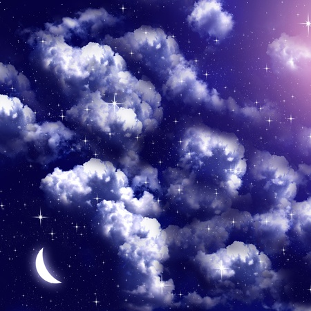 cloudy night sky: Cloudy sky with moon at night, Sky background