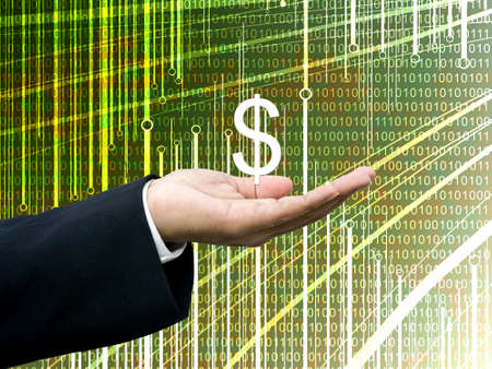 Businessman take profits with abstract digital data background photo