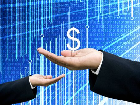Businessman share profits with abstract digital data graph photo