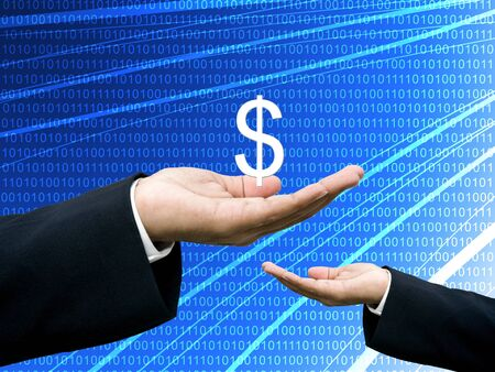 Businessman share profits with abstract digital data background photo