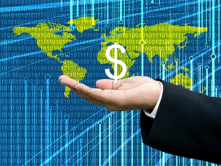 Businessmans hand carry Dollar icon with digital data background photo