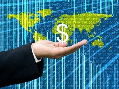 wold map: Businessmans hand hold Dollar with digital wold map background