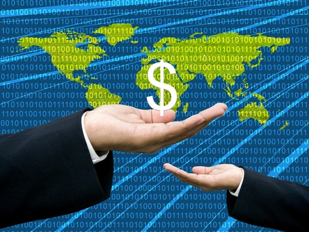 wold map: Businessmans hand share Dollar with digital wold map background Stock Photo