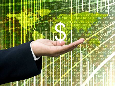 wold map: Businessmans hand carry Dollar icon with digital wold map background