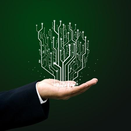 Circuit Board vonal üzletember kezét
