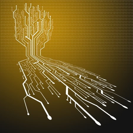 Circuit board ,Tree and root shape photo