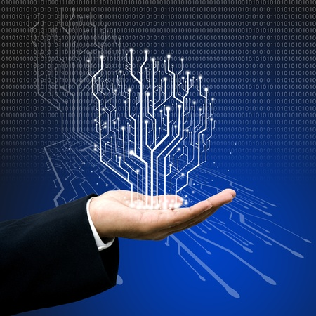 Circuit board graphic line on hand ,Technology background  Stock Photo - 11791985