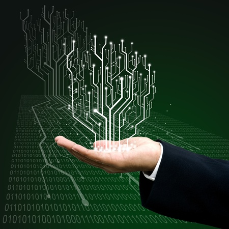 Circuit board graphic line on hand ,Technology background  photo