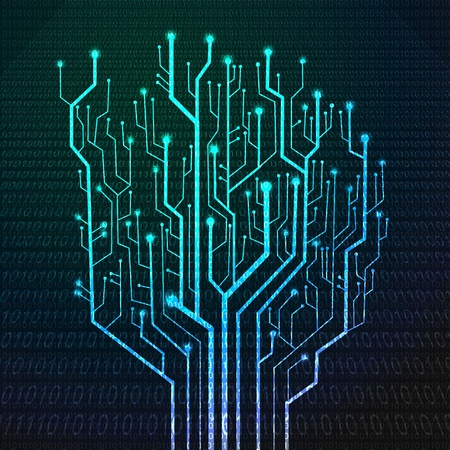 lighting background: Circuit board in Tree shape, Technology background
