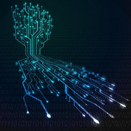 circuitos electronicos: Circuitos de la placa en el �rbol y la forma de la ra�z, de fondo la tecnolog�a