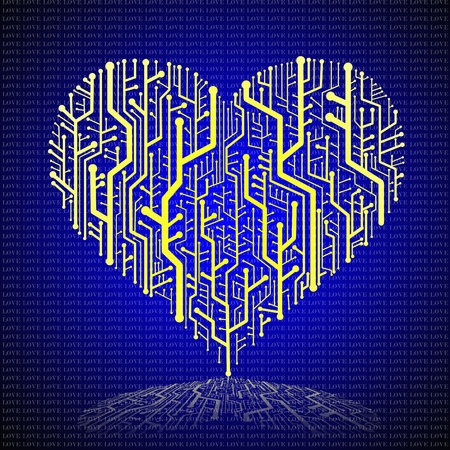 Circuit board in Heart shape, Technology background Stock Photo - 11798262