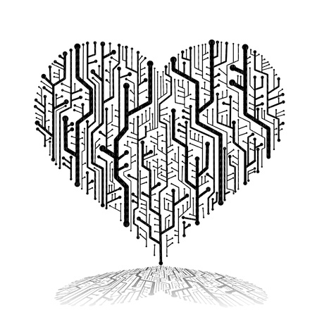 Circuit board in Heart shape with shadow on ground, Technology background  photo