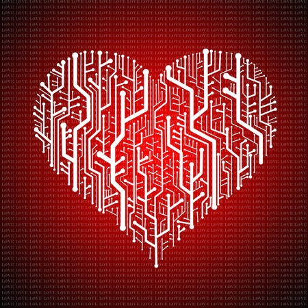 Circuit board in Heart shape, Technology background Stock Photo - 11798256