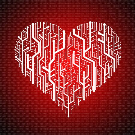 Circuit board in Heart shape, Technology background Stock Photo - 11798251