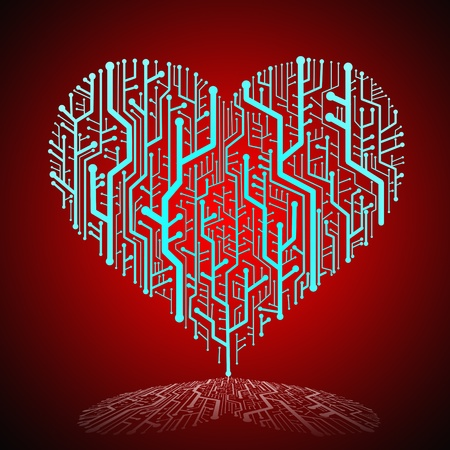 Circuit board in Heart shape, Technology background  photo