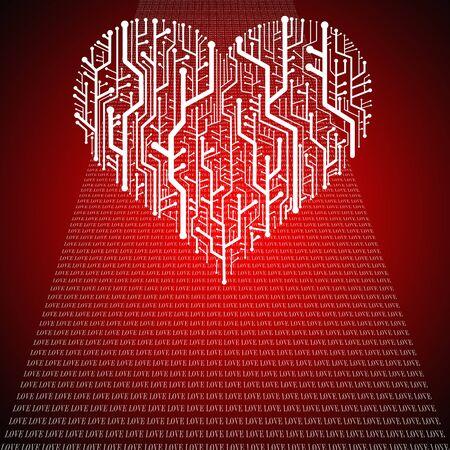 Circuitos de la placa en forma de corazón, la tecnología de fondo