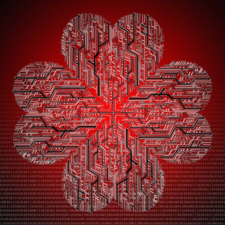Circuit board in Heart shape, Technology background Stock Photo - 11798263
