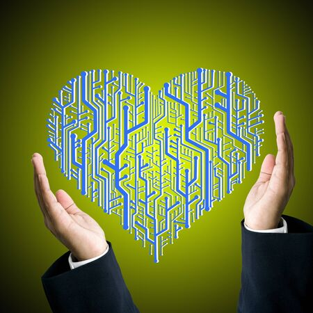 Businessman protect the circuit board in heart shape, Technology concept photo