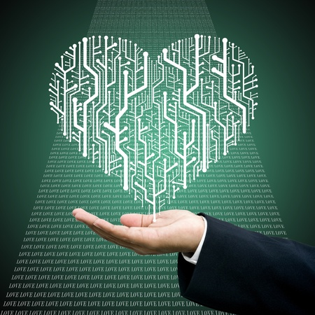 Businessman carry the Circuit board in heart shape, Technology background  photo