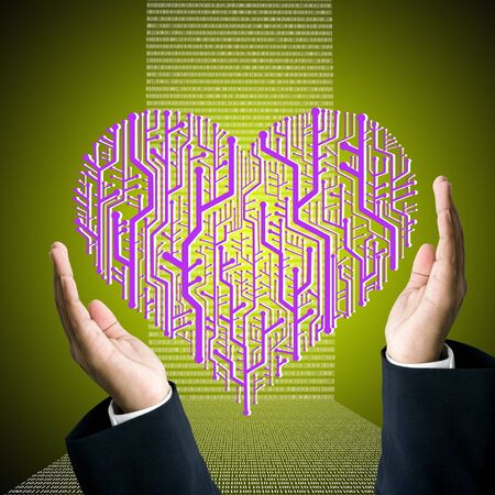 Business hand carry the circuit board in heart shape, Technology concept photo
