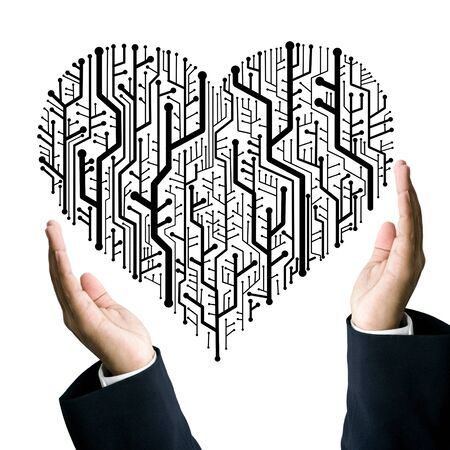 Business take care the circuit board in heart shape, Technology concept photo