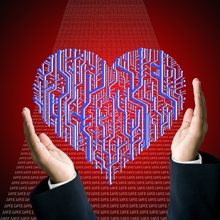 Protect the circuit board in heart shape, Technology concept photo