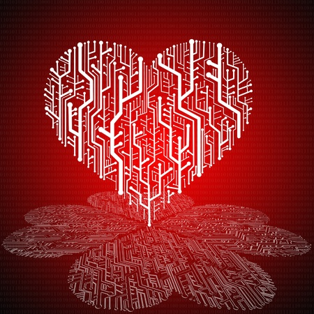 Circuit board in Heart shape with pattern on ground,  Technology background  photo