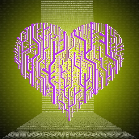 Heart graphic in circuit board theme, Heart healthy concept photo
