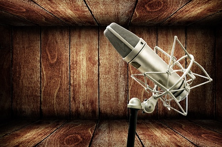 Microphone in wooden studio, Music concept Stock Photo - 11812160