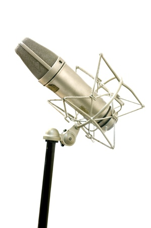 Classic Microphone on white background, Music tool concept photo