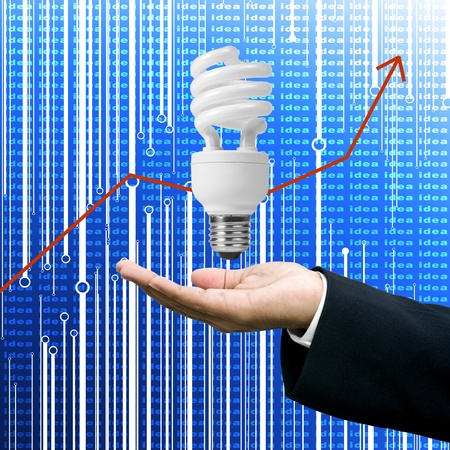 grown up: Grown up of Lighting Business with red arrow graph Stock Photo