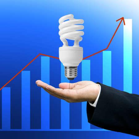 grown up: Save energy, Lighting lamp in businessman
