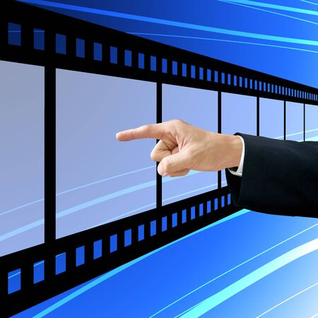 Businessman choose the film, Film industry concept photo