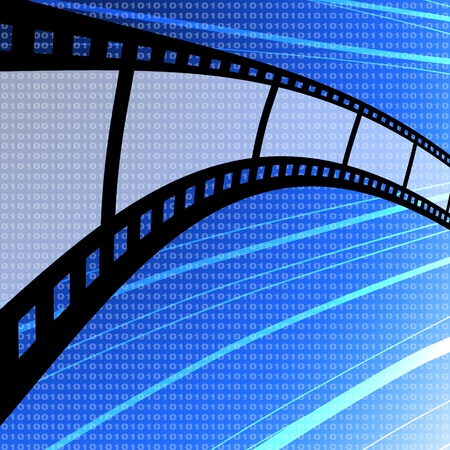 Blank film strip with digit background, Film industry concept photo