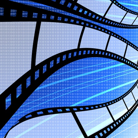 Flying blank film strip with digit background, Film industry concept photo