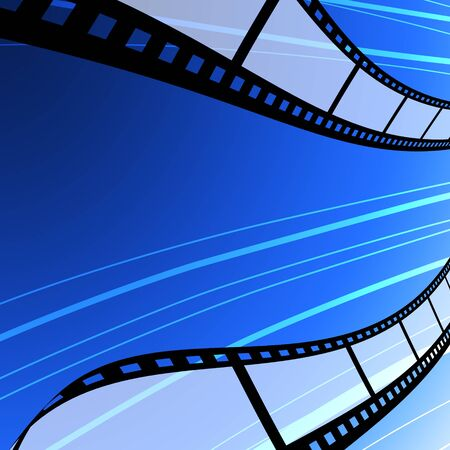 Blank film strip flying background, Film industry concept photo