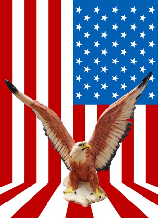 Eagle statue with American flag background, Independence day concept photo